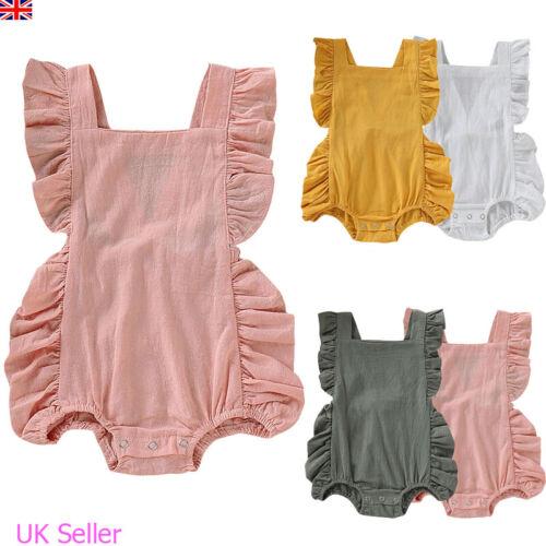 Newborn Baby Girl Summer Clothes Outfits Ruffle Romper Bodysuit Jumpsuit Sunsuit