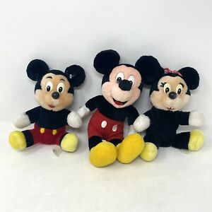 Bundle Vintage Disney Mickey & Minnie Mouse Soft Toys Plush Dolls Toy 80s 90s