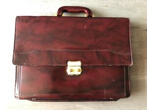 Vintage-Swiss-Amiet-Expandable-Brown-Leather-Briefcase-Office-Laptop-Lawyer