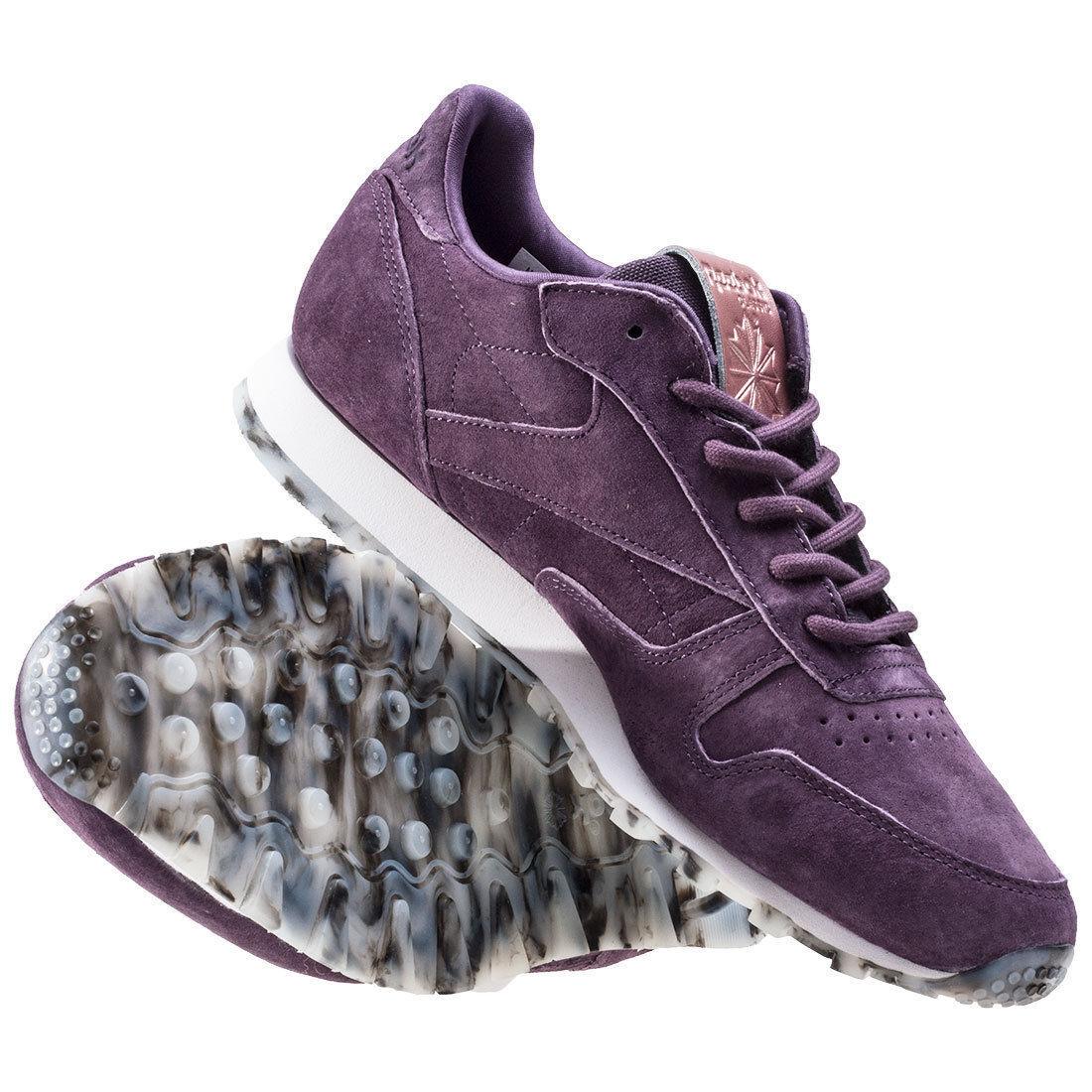 Reebok Cuero Clásico Mujer Shmr Shmr Shmr púrpuraa Zapatillas Medias BD1520 Talla 8.5  precio mas barato