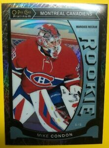 2015-16-OPC-Platinum-Marquee-Rookie-Black-Ice-M32-Mike-Condon-83-99-Montreal-RC