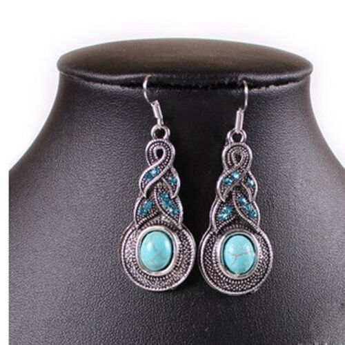 Les femmes Hot-selling Ton Argent Chaîne Turquoise Cristal Strass Crochet Boucles D/'oreilles
