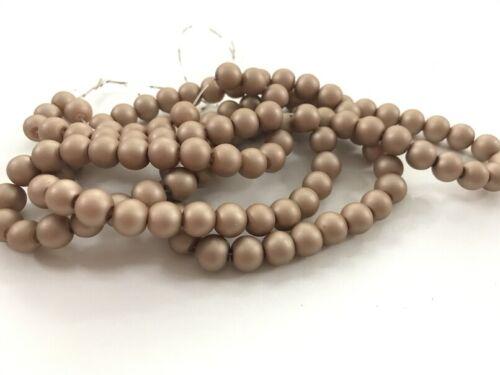 Glaswachsperlen Perlen beige MATT 8 mm 100 Stück Schmuck Basteln 51