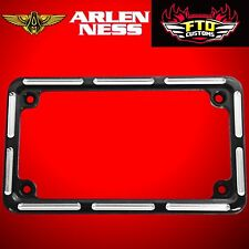Arlen Ness Motorcycle License Plate Frame Slot Track Black 12-134