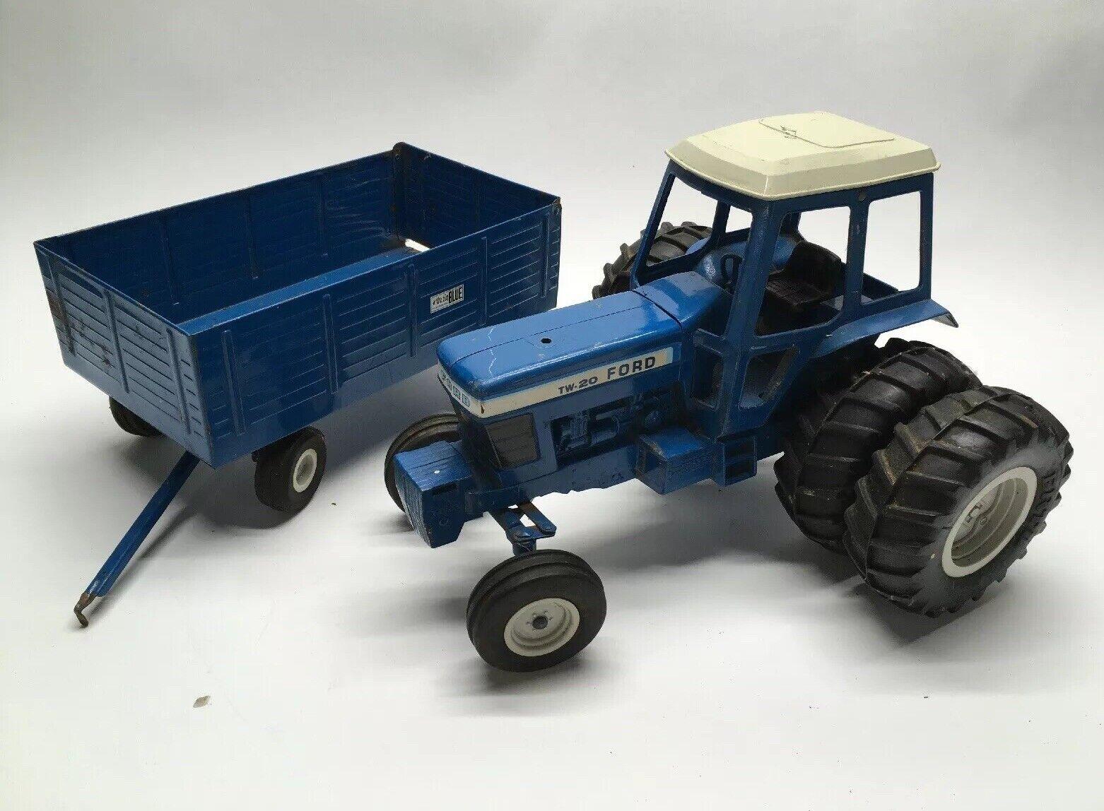 Vintage ERTL ford TW-20 tracteur avec DUALS  & Big bleu wagon échelle 1 12 FARM TOYS  livraison rapide