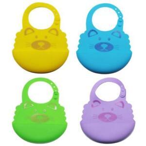 Waterproof Comfortable Soft Baby Bib Easily Wipes Clean Silicone Feeding Bibs Q