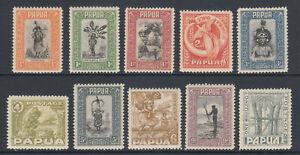 Papua-Sc-94-103-MNH-1932-Pictorials-short-set-to-1sh-value-fresh-VF