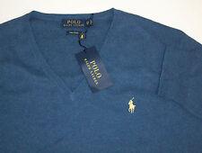 Polo Ralph Lauren 100% PIMA Cotton LS V-Neck Sweater w/ Pony $125  5 Colors NWT