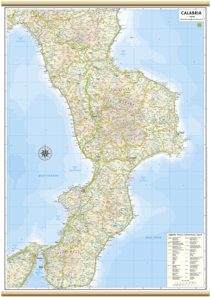 Regione Calabria Cartina.Calabria Carta Regionale Murale 61x88 Cm Mappa Cartina