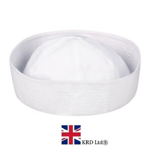 Adult-WHITE-DOUGHBOY-MARINE-SAILOR-HAT-Cap-Fancy-Dress-Costume-Unisex-NEW-UK