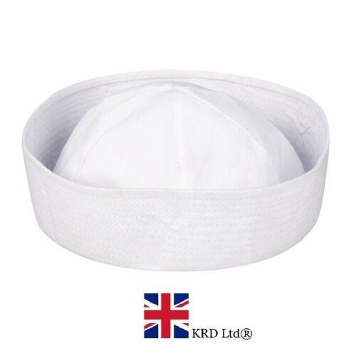 Adulto Bianco Doughboy Marine SAILOR HAT CAP Costume Unisex Nuovo Regno Unito