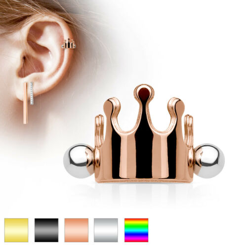 Crown Surgical Steel Ear Cartilage//Helix Cuff Barbell Earring