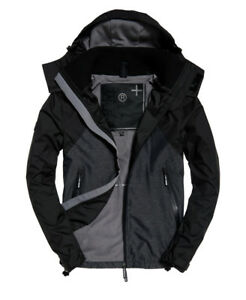 New Mens Superdry Arctic Hooded Cliff Hiker Hybrid Jacket Black Marl