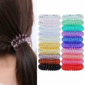 5pcs Girl Gel Stretch Plastic Spiral Phone Cord Hair Ties Band Coil High Quality