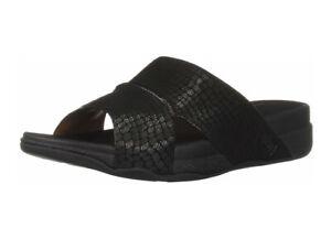 New-FITFLOP-Bando-Croc-Embossed-Men-039-s-Leather-Slide-Black-Size-8-NIB
