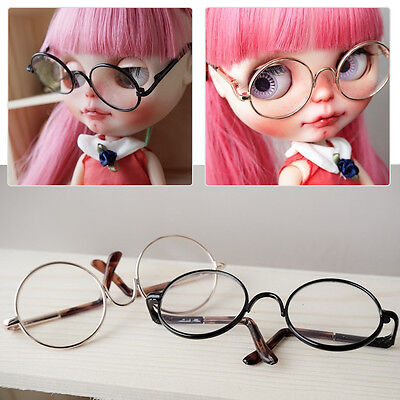 Black Golden Round Metal Frame Eye Glasses Accessory Fit for Neo Blythe Doll