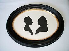 "George and Martha Washington Silhouette in Custom Oval Frame - 8 3/4"" x 6 3/4"""