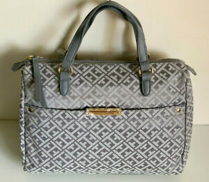 NEW-TOMMY-HILFIGER-GRAY-DOCTOR-BOWLER-SATCHEL-TOTE-PURSE-HANDBAG-85-SALE