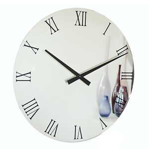 Roco Verre Roman Black Mirror Clock In Three Sizes 34cm