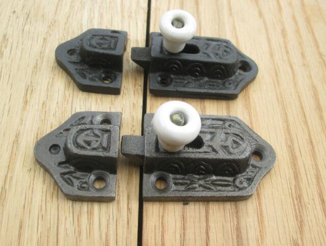 CAST IRON FLAT SLIDING CABINET SHOWCASE DOOR CUPBOARD BOLT LOCK LATCH CATCH