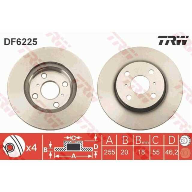 TRW 2x Discos de Freno Ventilado Pintado Negro DF6225