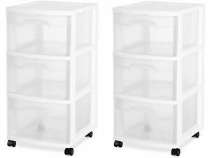 3 DRAWER PLASTIC STORAGE Rolling Cart Cabinet Organizer Container Box SET OF 2