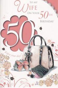 wife 50th birthday card age 50 fashion handbags embossed ebay