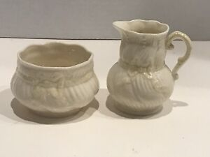 "Vintage Belleek Ireland Creamer and Sugar Set 7th Mark GOLD 1980-93 ""Ribbon"""