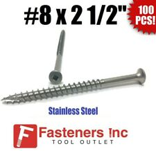 Qty 100 8 X 2 12 Stainless Steel Deck Screws Square Drive Wood Type 17
