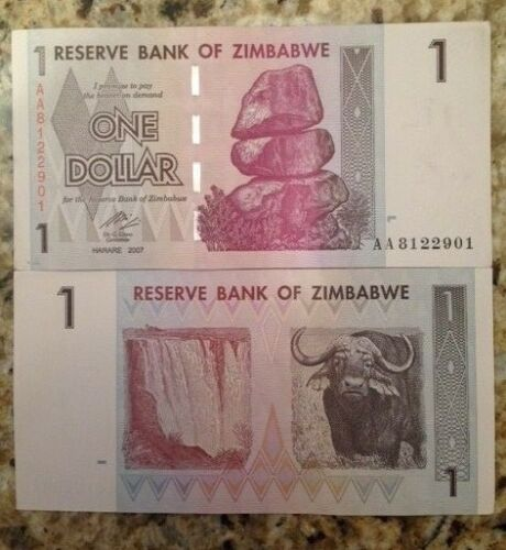 ZIMBABWE 2007 1 DOLLAR UNC NOTE P-65 BUFFALO /& VICTORIA FALLS FROM A USA SELLER