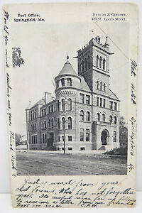 USA-Postcard-Postcard-Ak-post-Office-Springfield-1904-Two-Cents-A2296