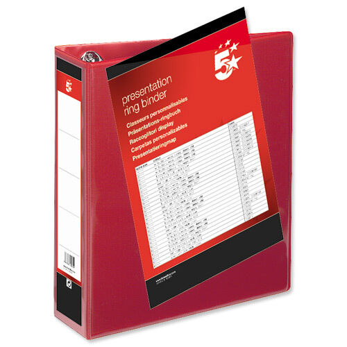 10 A4 PRESENTATION DISPLAY BINDER FOLDER 65mm SIZE RED 4D RING FILE © FIL2745