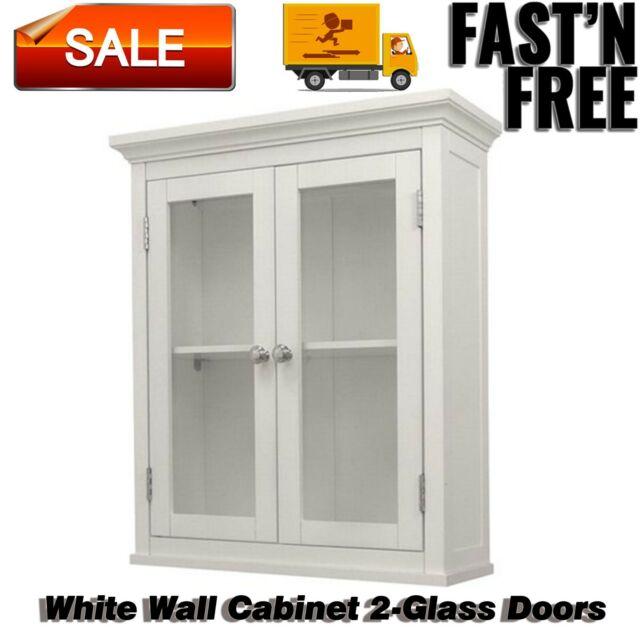 Bathroom Wall Storage Cabinet 27 In H 2 Doors Adjustable Shelves Wood White For Sale Online Ebay
