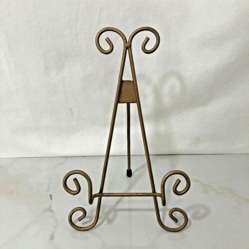 Metal Display Easel Goldtone Tripod Folding Stand Decorative Tabletop Art Photo