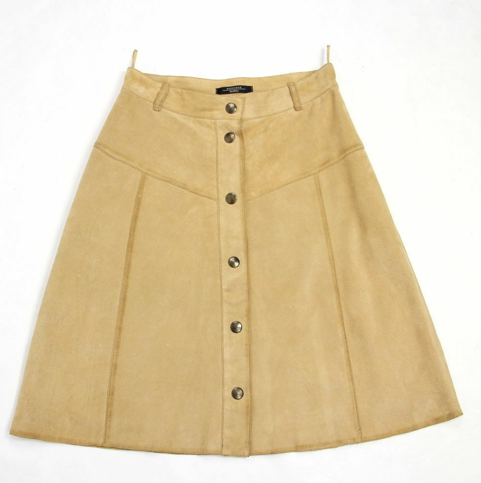 MAX MARA Beige Suede Leather A-line Button Skirt SIZE US 6 UK8