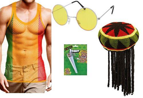 Men/'s String Vest Hat with Dreadlocks Wig Glasses /& Fake Spliff Jamaican Rasta