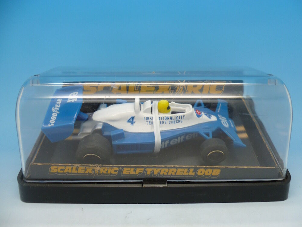 Scalextric C135 Elf Tyrrell 008 Mint car, box lid hinges broken, car used once