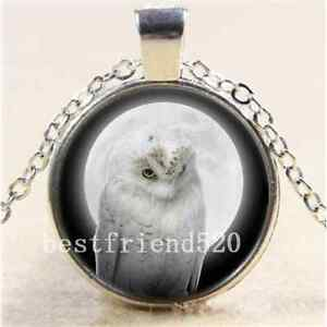 White-Owl-With-Moon-Cabochon-Glass-Tibet-Silver-Chain-Pendant-Necklace