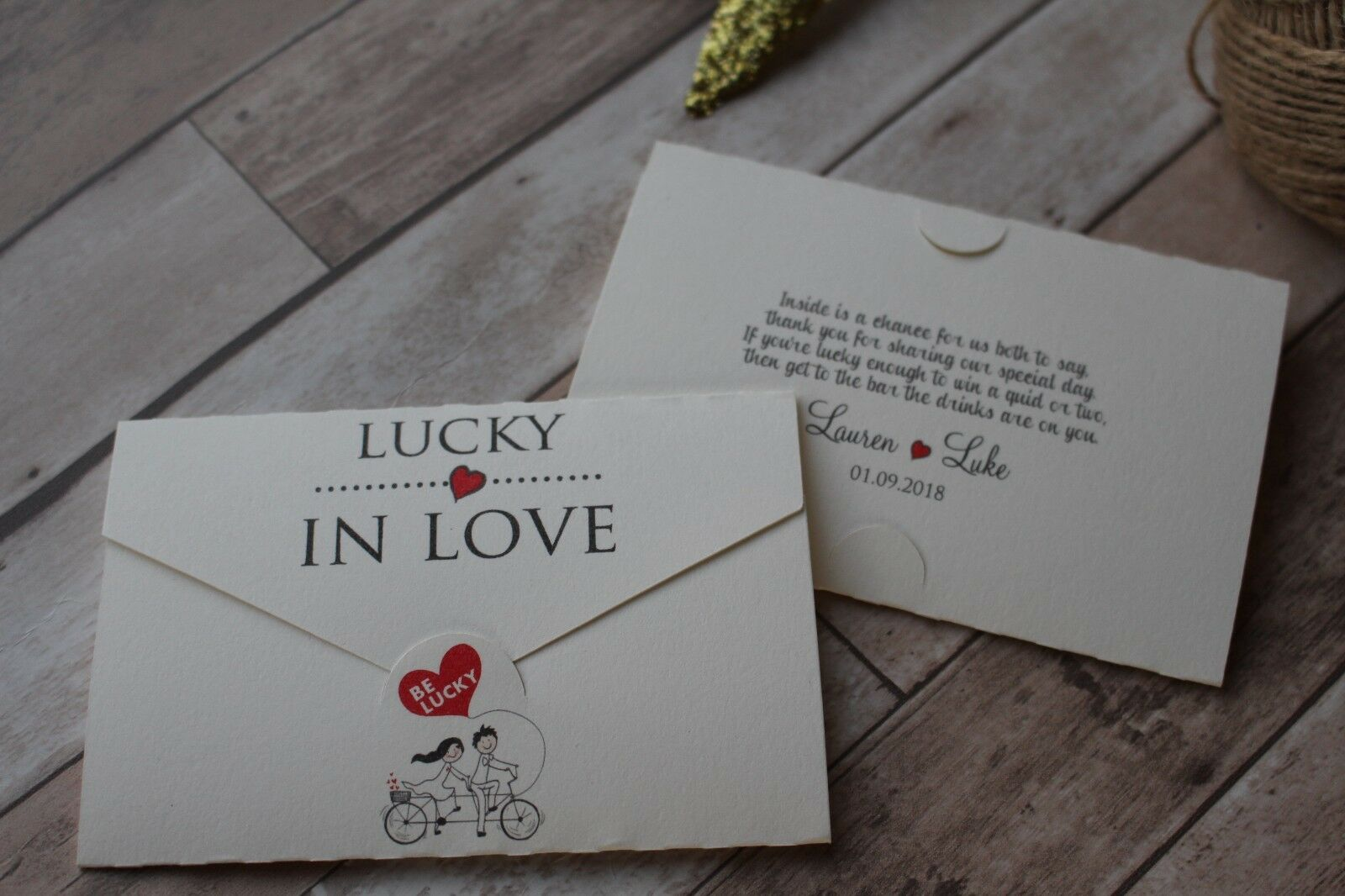 Personalised Wedding Favour Lottery Scratchcard Scratchcard Scratchcard holders-Bicycle 5f5487
