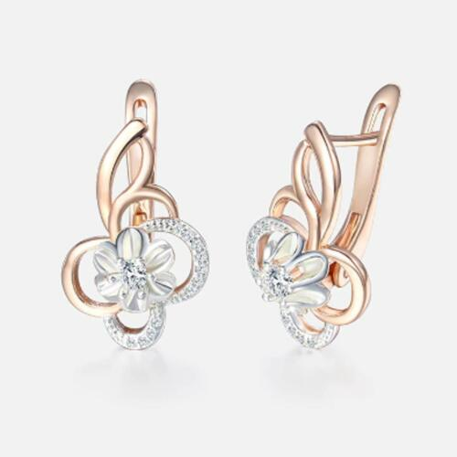 Ohrringe Blume Hänger Zirkonia weiß 750er Rosegold 18 Karat vergoldet O3253L
