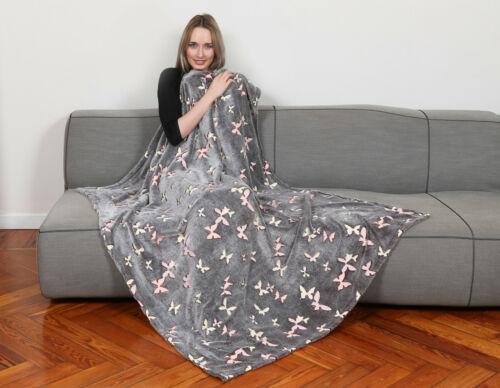Kanguru Decke Soft Kuscheldecke Sofadecke Fernsehdecke Wohndecke Schmetterling