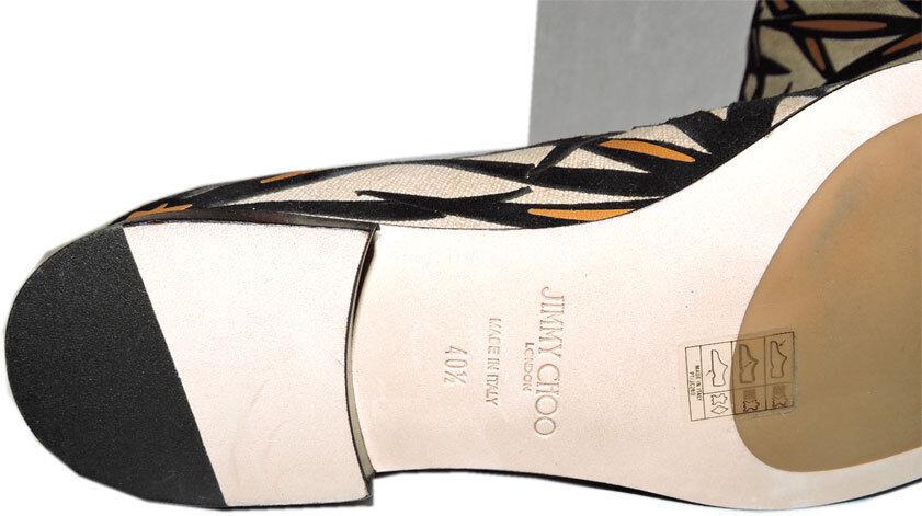 Jimmy Choo Schwarz Mina Palm Leinen Leinen Leinen Stiefel Leder Knöchelhohe Stiefeletten 40.5 480a68