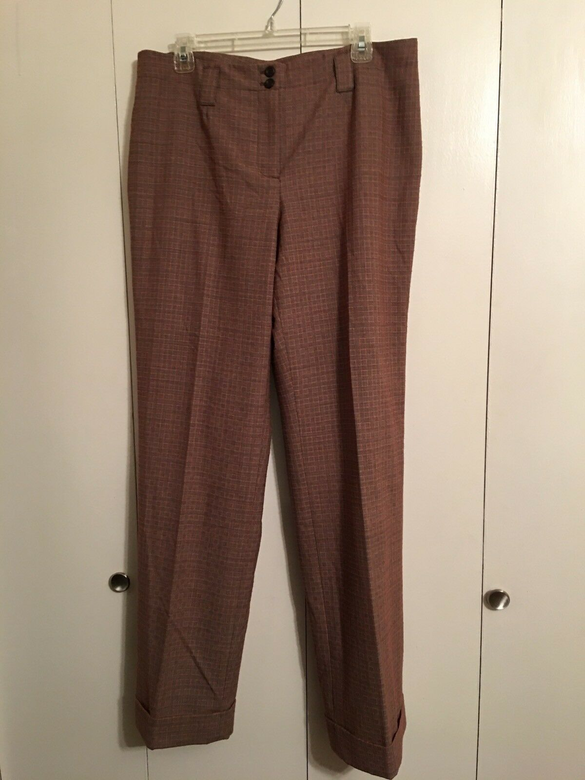 NWT Etcetera Gingeroot braun  Orange Polyester Blend Cuffed Pant 14