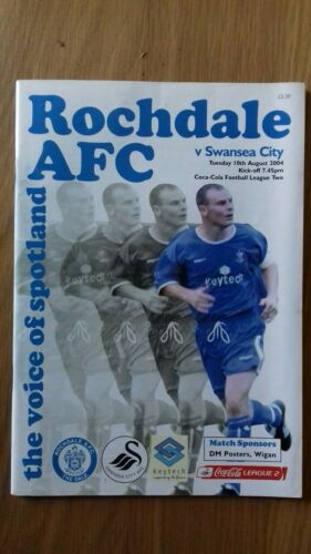 ROCHDALE V SWANSEA CITY 10TH AUGUST 2004 LEAGUE TWO SWANS PROMOTED RARE