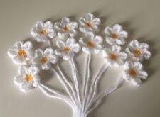 12 Handmade Daisy Flowers Crochet Appliqué, Embellishment, Yellow & White, 4.5cm