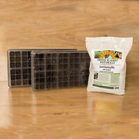 Complete Seed Starting Set - Trays, Domes, Inserts + 8 Qt Seed Starting Mix