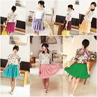 New Fashion Retro High Waist Pleated Double Layer Chiffon Short Mini Skirt Dress