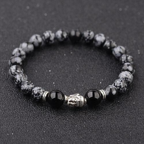 Natural Lava Stone Plated Sliver Buddha Head Beads Women Men Bracelets Jewelry