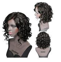 Women Fashion Short Wig Black Wavy Curly Natural Hair Synthetic Hair Cosplay+Cap