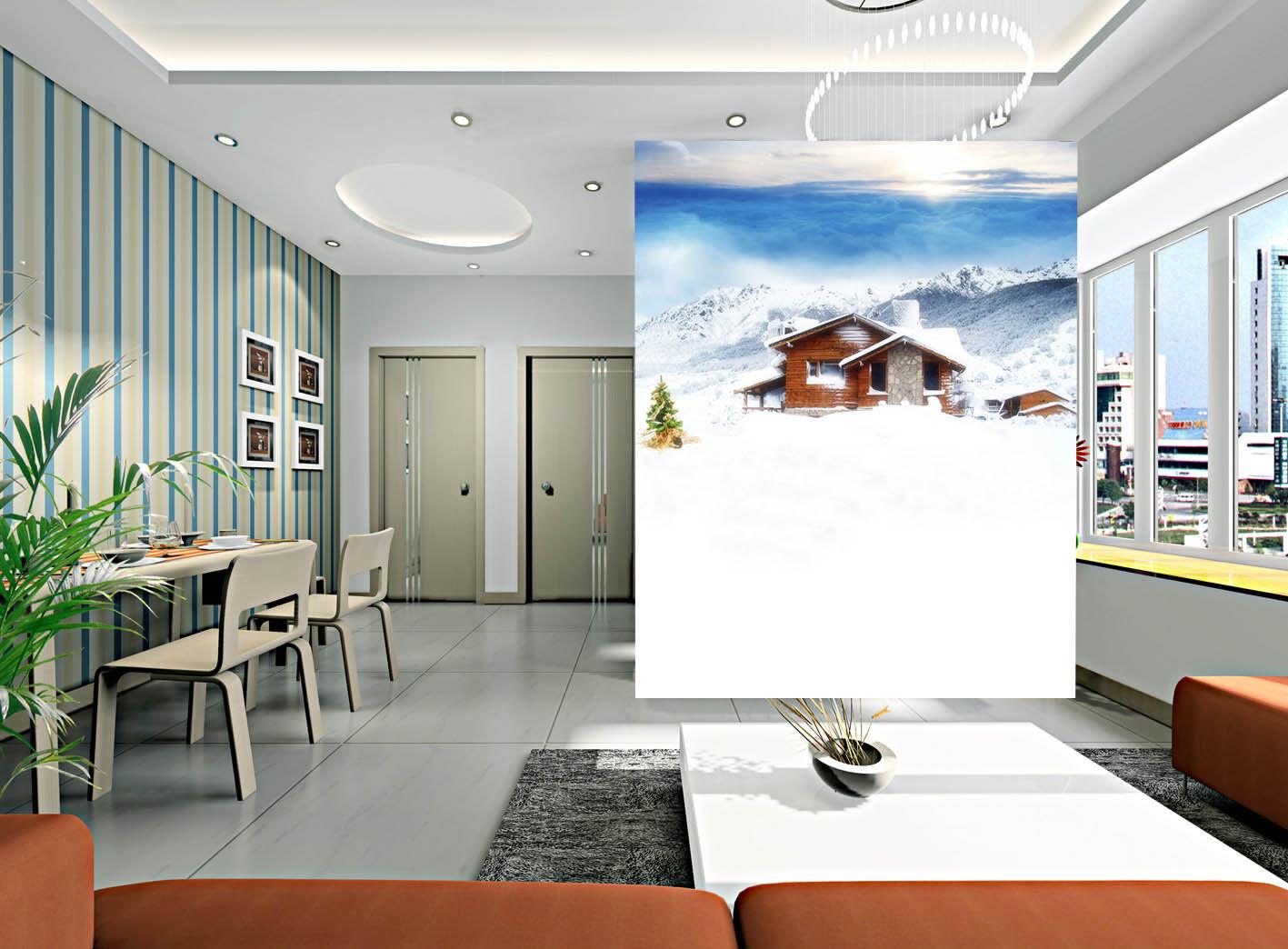 3D Verschneite Haus 546 Tapete Tapeten Mauer Foto Familie Tapete Wandgemälde DE